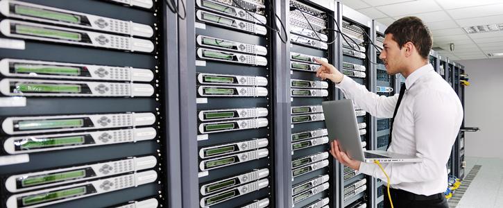 IT specialist servicing server blades