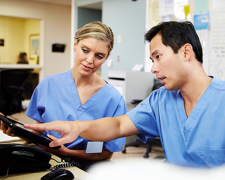 Healthcare professionals collaborating